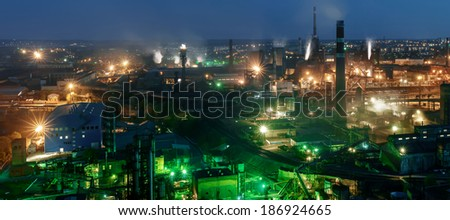 panorama of night view  of industrial metallurgical  plant  . Donetsk Ukraine - stock photo