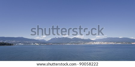 Panorama of North Vancouver and Stanley Park - View from Vancouver Convention Center, British Columbia, Canada - stock photo