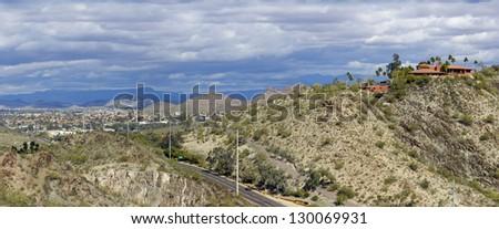 Panorama of Northern Phoenix & Scottsdale as seen from North Mountain, Arizona - stock photo