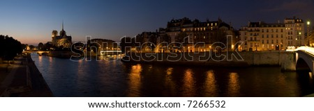 Panorama of Notre Dame cathedral and River Seine - stock photo