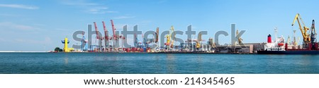 Panorama of Odessa Seaport at sunny day. - stock photo