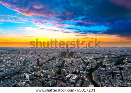 Panorama of of Paris, France with the Eiffel tower - stock photo