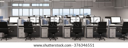 Panorama of office with many computer monitors on desks (3D Rendering) - stock photo