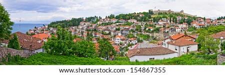 Panorama of Ohrid in Macedonia - stock photo