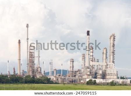 Panorama of Oil Refinery Plant in filed