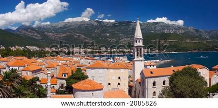 Panorama of old city in Budva, Montenegro - stock photo