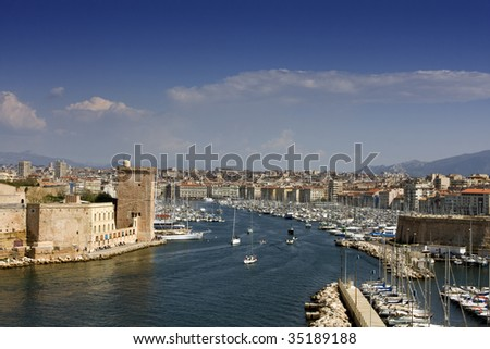 Panorama of old port of Marseille  with blue sky