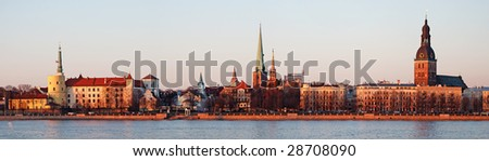 Panorama of Old Riga on a decline. - stock photo