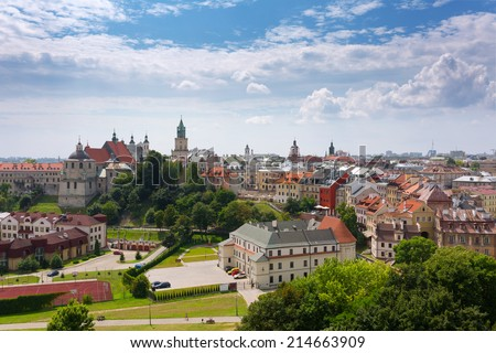Panorama of old town city Lublin. Poland. - stock photo