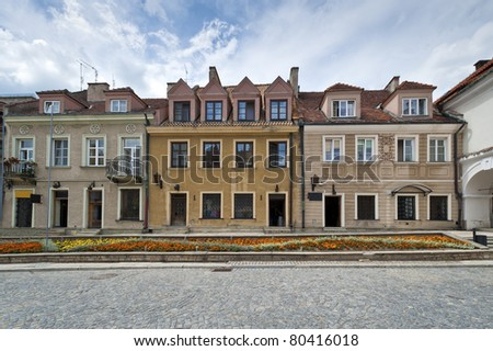 Panorama of Old Town houses in Sandomierz, Poland