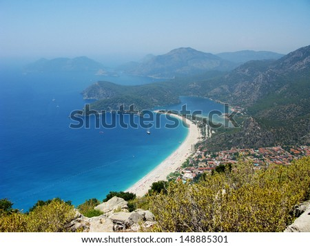 panorama of oludeniz lagoon in sea landscape view of beach  - stock photo