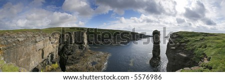 Panorama of Orkney coastline including Yesnaby Castle - stock photo