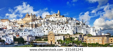 panorama of Ostuni beautiful white town in Puglia, Italy - stock photo