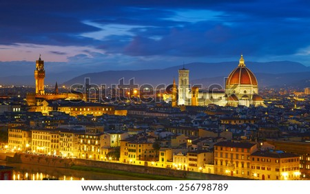 Panorama of Palazzo Vecchio and Cathedral of Santa Maria del Fiore (Duomo). Florence, Italy - stock photo