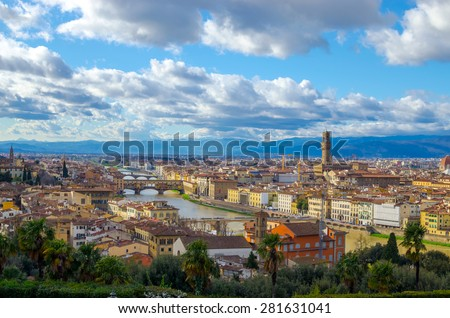 Panorama of Palazzo Vecchio and Cathedral of Santa Maria del Fiore (Duomo), Florence, Italy