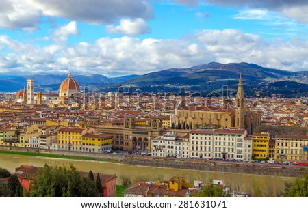 Panorama of Palazzo Vecchio and Cathedral of Santa Maria del Fiore (Duomo), Florence, Italy - stock photo