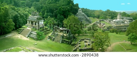 panorama of palenque, mexico - stock photo