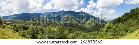 Panorama of Parc naturel regional des Pyrenees ariegeoises - stock photo