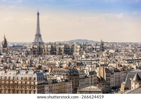 Panorama of Paris at sunset. View from Cathedral Notre Dame de Paris. France. - stock photo