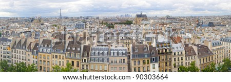 Panorama of Paris from a bird's eye, France - stock photo