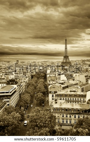 Panorama of Paris from Arc de Triomphe - stock photo