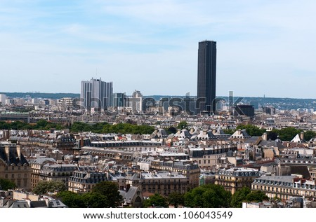 Panorama of Paris from Notre Dame. Monparnasse tower in the background. France
