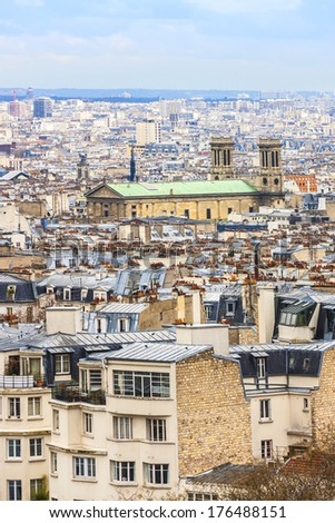 Panorama of Paris from the Sacre Coeur of Montmartre. Paris, France