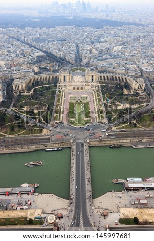 Panorama of Paris, the Trocadero and La Defense from the top platform of the Eiffel Tower, Paris, France - stock photo