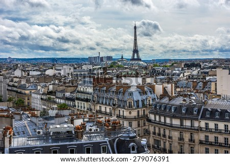 Panorama of Paris. View from Printemps store. France. - stock photo