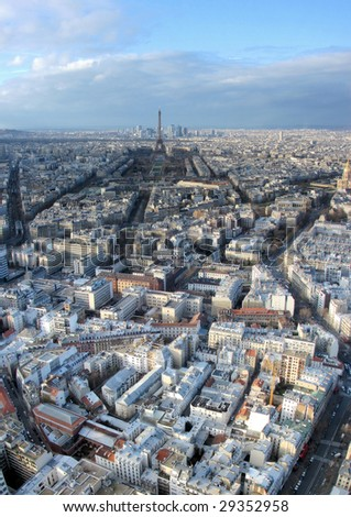 panorama of paris with a tower eiffel - stock photo