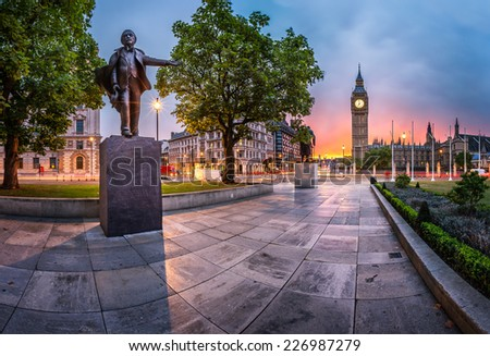 Panorama of Parliament Square and Queen Elizabeth Tower in London, United Kingdom - stock photo
