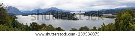 Panorama of Perito Moreno lake from Circuto Chico near Bariloche, Argentina - stock photo