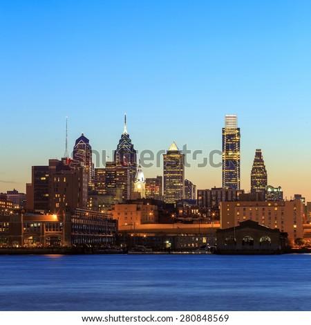 Panorama of Philadelphia skyline at sunset  - stock photo
