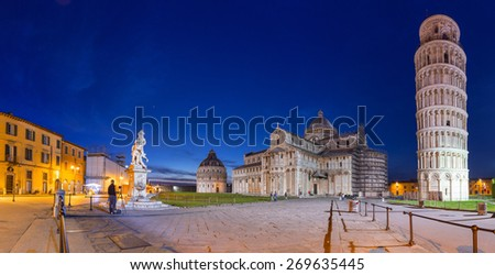 Panorama of Piazza dei Miracoli with Leaning Tower of Pisa, Italy - stock photo