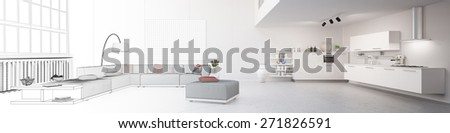 Panorama of planning of eat-in-kitchen in a loft from CAD blueprint to 3D Rendering - stock photo