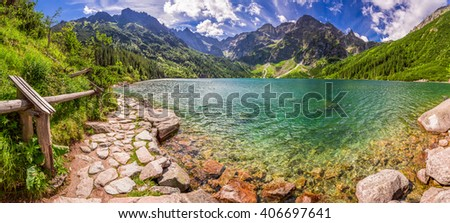Panorama of pond in the Tatra mountains, Poland - stock photo