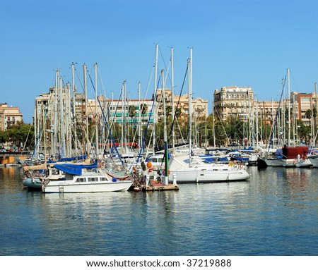 panorama of port and quay in Barcelona, Port Vell, Spain, Catalonia - stock photo