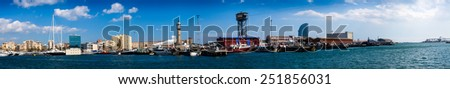 Panorama of Port Vell and La Barceloneta district in Barcelona. Catalonia, Spain  - stock photo