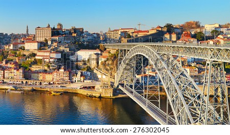 Panorama of Porto with famous Dom Luis bridge. Portugal - stock photo
