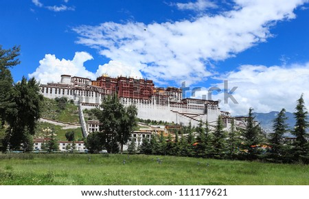 panorama of potala palace in lhasa,tibet,China - stock photo