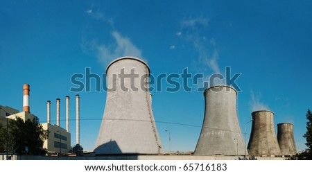 Panorama of power plant. - stock photo