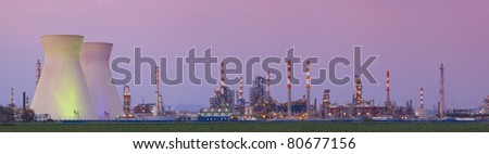 Panorama of power station at sunset - Oil Refineries - stock photo