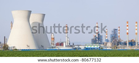 Panorama of power station  - Oil Refineries - stock photo