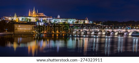 Panorama of Prague Castle with Charles Bridge at Prague, Czech Republic at night - stock photo