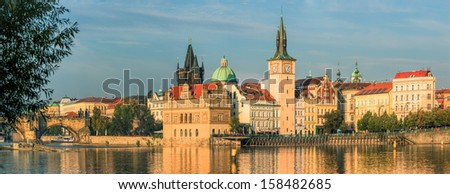 Panorama of Prague Old Town from the river