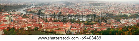 Panorama of Prague with a view of Charles Bridge - stock photo