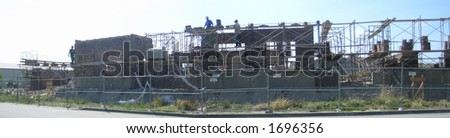 Panorama of progress on the City Hall construction in Burlington, Washington state, USA - stock photo