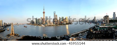 panorama of pudong seen from shanghai, China - stock photo
