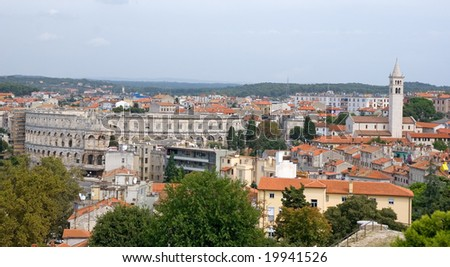 Panorama of Pula historical center and ancient roman amphitheatre (Arena), Istria peninsula, Croatia