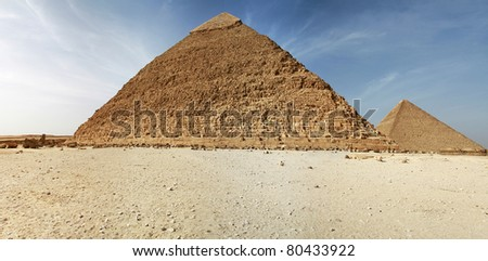 Panorama of pyramids in Giza - Egypt - stock photo
